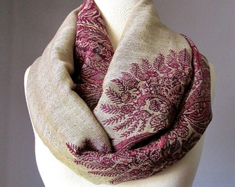 Fern infinity scarf in Beige and  Burgundy , fall scarf, oversized scarf