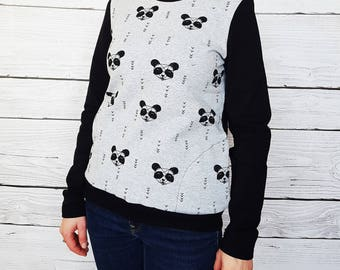 PANDA animal cotton Sweatshirt grey chain, pockets, blouse in cotton with pockets and elbows.