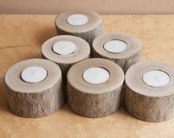 Six Round Driftwood Candle Holders