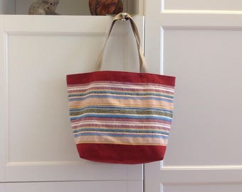 Burgundy suede and full color canvas tote