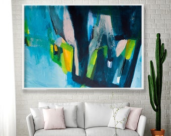 Large Abstract Art Blue navy giclee PRINT of Painting Large wall art modern cool Geometric Abstract painting by AF Duealberi
