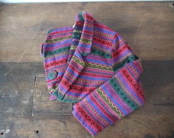 Vintage GSL aztec southwest blazer jacket coat / navajo ethnic native coat / chimayo jacket wool aztec coat mexican jacket / Guatemalan coat