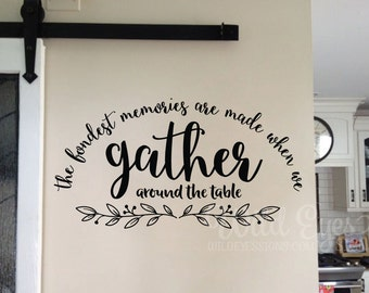 The fondest memories are made when we gather around the table, Kitchen Blessing -Bistro Cafe Vinyl Wall Art, wall decal, wall sticker HH2116