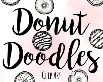 Pen and Ink Doodle Donut Clip Art, Custom Invitations Clip Art, Digital Doodle Donut Clip Art, Black and White Clip Art, Doodle Clip Art