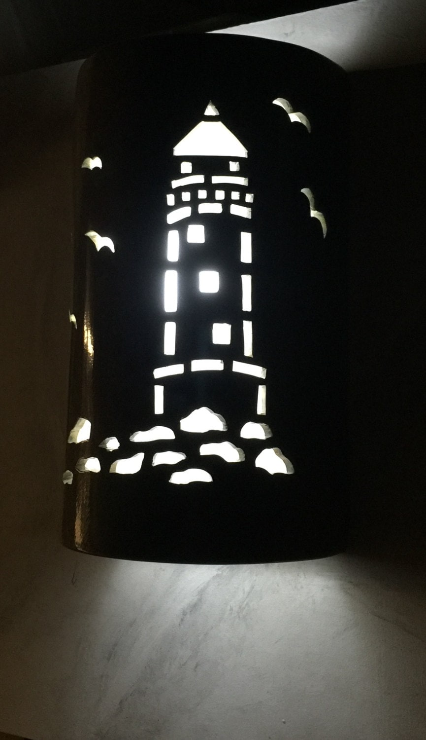 Lighthouse wall sconce ceramic wall light nautical light zoom aloadofball Image collections