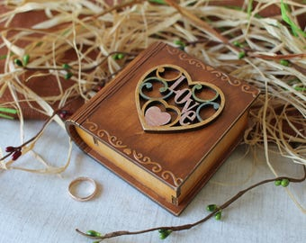 Ring bearer book box Wooden jewelry box Wedding ring pillow Engagement ring box Proposal ring box Rustik ring box Rustik wedding Wooden box