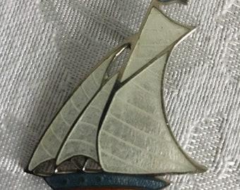 Beautiful Enameled Glass Sailboat Pin