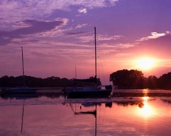 Sunrise Sailboats, Sailboat Decor, Sunrise Art, Nautical Decor, Home Decor, Large Wall Art, Neenah Wisconsin, Fox Cities