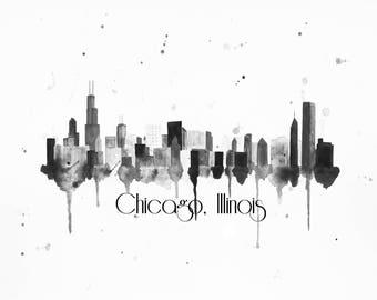 Chicago Skyline Art - Chicago Print - Chicago Art - Chicago Skyline Painting - Chicago Wall Art - Skyline Wall Art