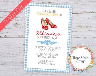 Red Shoes Printable Birthday Invitation
