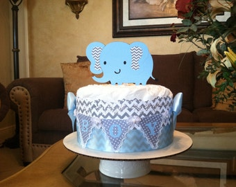 Baby boy diaper cake/Elephant diaper cale / Mini diaper cake/ boy baby shower gift/Centerpiece Elephant centerpiece