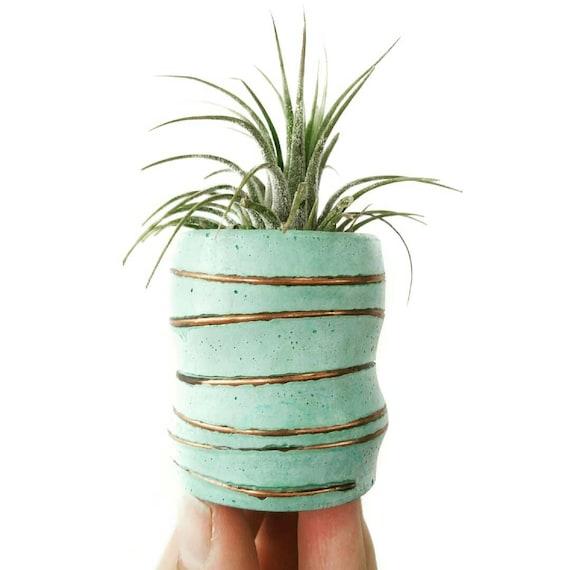 Mint Concrete Air Planter/Modern Planter/Small Air Planter/Office Planter/Succulent Planter/ Indoor Planter/Mint green/Dorm decor/Minimalist