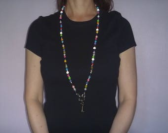 multicoloured beaded ID lanyard, ecofriendly multicolored beaded badge holder