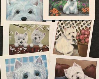 Westie West Highland Terrier blank notecards from original artwork