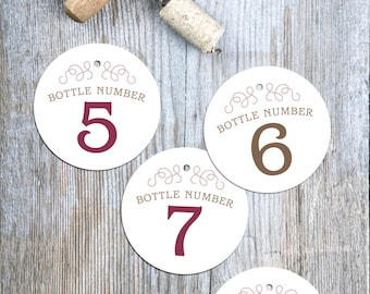 WINE tasting bottle number tags 1 to 9 INSTANT DOWNLOAD printable