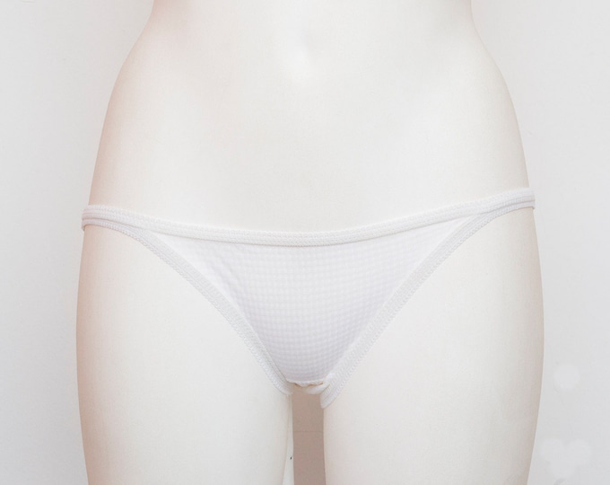 70s panties white sheer lace dead stock Vintage