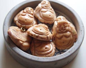 1 Buddha Pendant Antique Finish Hand Carved Bone Beads Large Size 33 x 28mm