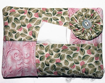 YoYo  Tissue & Kleenex Holder. For Purse, Gift, Stocking Stuffer, Teacher, Student Gift in pink and green floral fabric.