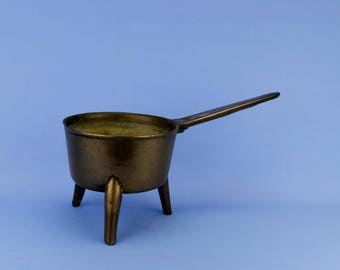 Medium Bronze Posnet Pan Three Feet Handle Georgian Bronze Antique English 18th Century Tripod Cauldron