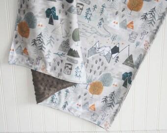 baby blanket- woodland baby blanket- minky baby blanket- adventure baby blanket- gray baby blanket- boy baby bedding- custom baby blanket-