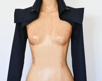 Cropped Jacket Steampunk Contemporary Modern Navy Bolero Victorian Costume Formal Punk