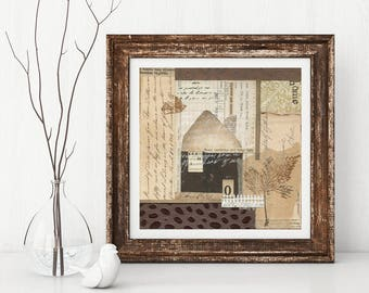 SANCTUARY mixed media abstract collage, original art, wall art, vintage papers