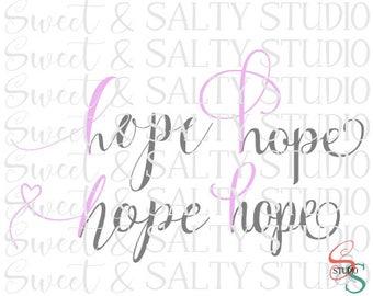 pink ribbon hope (4 versions included) digital file
