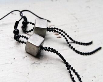 Silver cube ballchain earrings