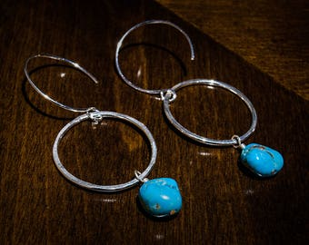 Sterling Silver Circle Drop Earrings | Genuine Turquoise