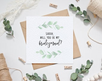 Personalised Will you be my bridesmaid? Card - Wedding Card - Bridesmaid Proposal - Maid of Honour Card - Bridesmaid Eucalyptus Wedding