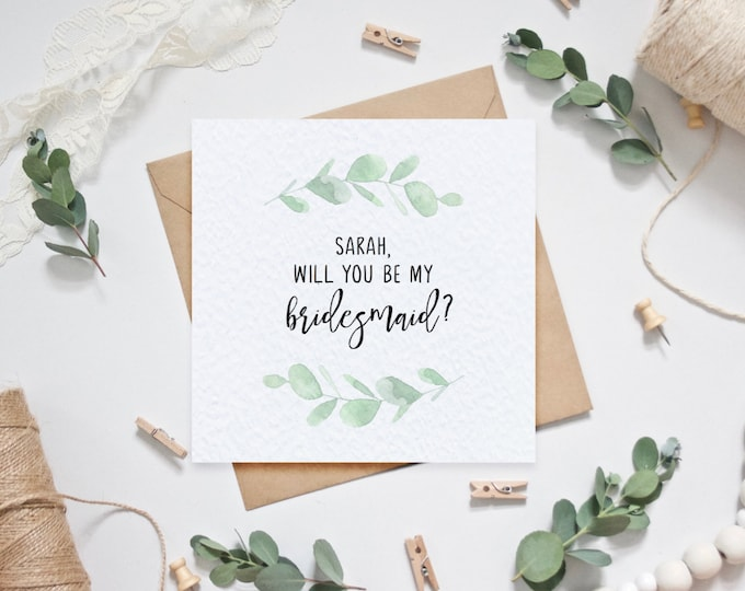 Personalised Will you be my bridesmaid? Card - Eucalyptus