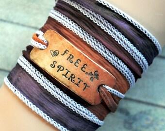 Silk wrap bracelet,  silk ribbon bracelet ,boho wrap,FREE SPIRIT ,handdyed,enameled copper,yoga,ruban de soie,Seidenband# 170