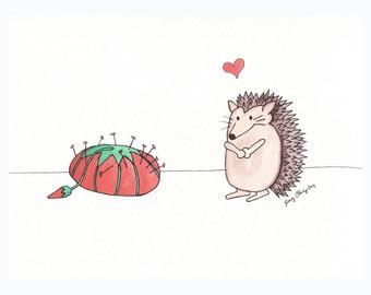 Hedgehog Loves Pincushion- 5x7 Print