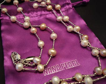 Long Silver Modern Freshwater Pearl Necklace, Wedding Pearls, Bridesmaids Necklace, Pink Pearls