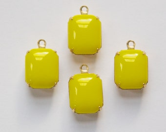 Vintage Opaque Yellow Glass Octagon Stones in 1 Loop Brass Setting 12mm x 10mm oct005G