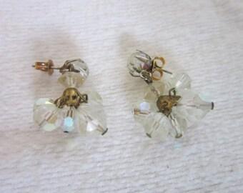 Aurora Borealis Cut Crystal Dangle Pierced Earrings