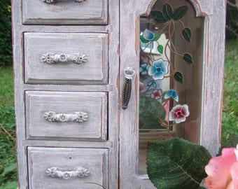 Shabby Chic wooden Jewellery Box Wardrobe