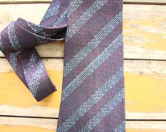 Vintage MAROON and SILVER Necktie, 1940s, Made in England, Stripes, Never worn