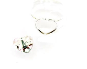 Kit (Eiffel Tower) glass cabochon heart ring