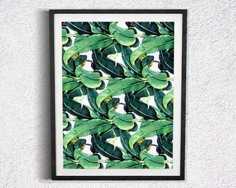 Banana Leaf Print Botanical Print Palm Leaf Print Plant Print Palm Print Tropical Print Green Leaves Tropical Printable Art Banana Leaf Art