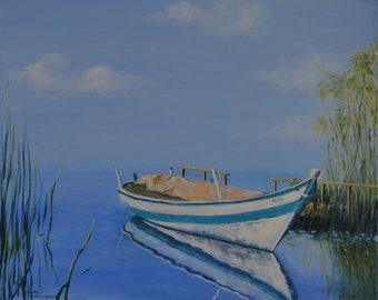 Original Oil Painting Boat Landscape Lake pier oil on canvas gift print wall decor artwork