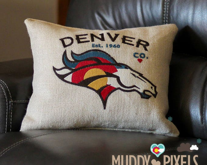 Colorado Denver Broncos with Flag Unique Burlap Pillow