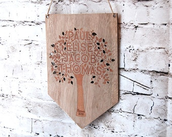 Personalised wooden Family Tree ~ Mothers Day Gift ~  Family sign ~  Natural Wood Custom Pendant ~ Wall hanging