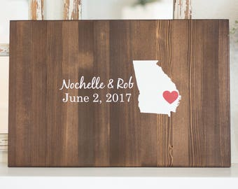 Personalized State Wood Sign Wedding Guest Book Alternative