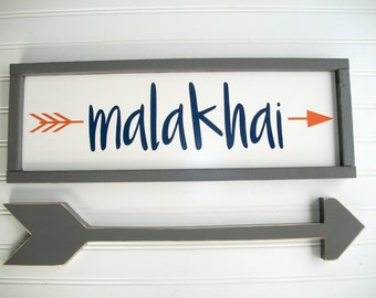 Nursery Name Sign . Tribal Nursery Decor . Custom Baby Sign Set . Arrow . Woodland Arrow Name Sign . Woodland Nursery Decor . Baby Name Sign