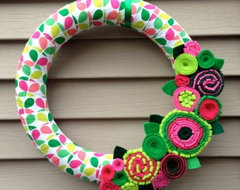 Spring Wreath - Ribbon Wreath - Wrapped in Patterned Fabric Decorated w/ Felt Flowers. Summer Wreath - Mother's Day Wreath - Felt Wreath