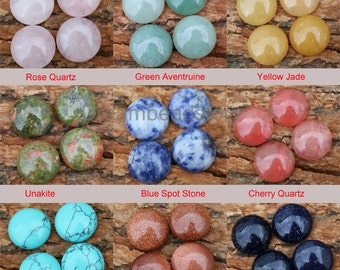 Natural Gemstone 16mm Round Cabochons for DIY Jewelry Making, Sold by 4 Pieces (HX189)