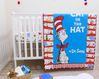 Incroyable Cat In The Hat Baby Quilt, Dr. Seuss Crib Bedding, Cat In The
