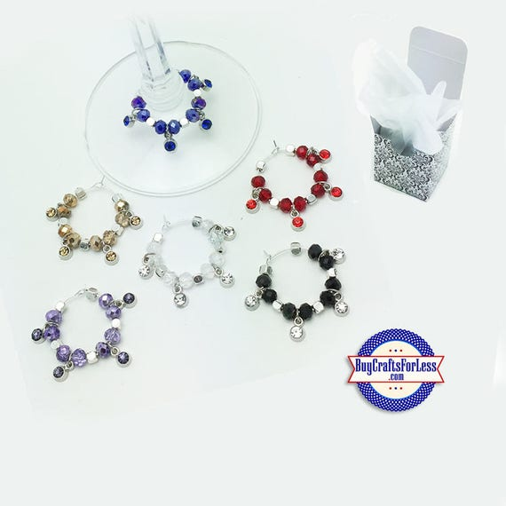 CRYSTAL WiNE or Bottle Charms, Napkin Rings, FREE Gift Box, Set of 6 +FREE SHiPPiNG & Discounts*