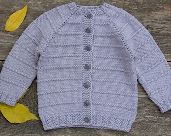 Kids knitted sweater handmade knit baby cardigan light gray cardigan baby boy cardigan sweater baby girl sweater gray wool sweater hand knit